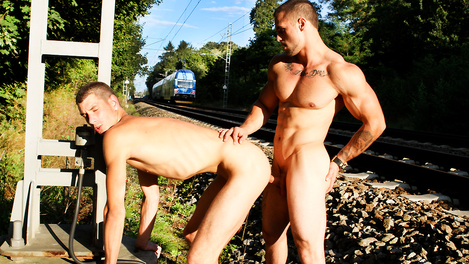 Bareback Sex By The Train Tracks outinpublic out in public places gay sex videos